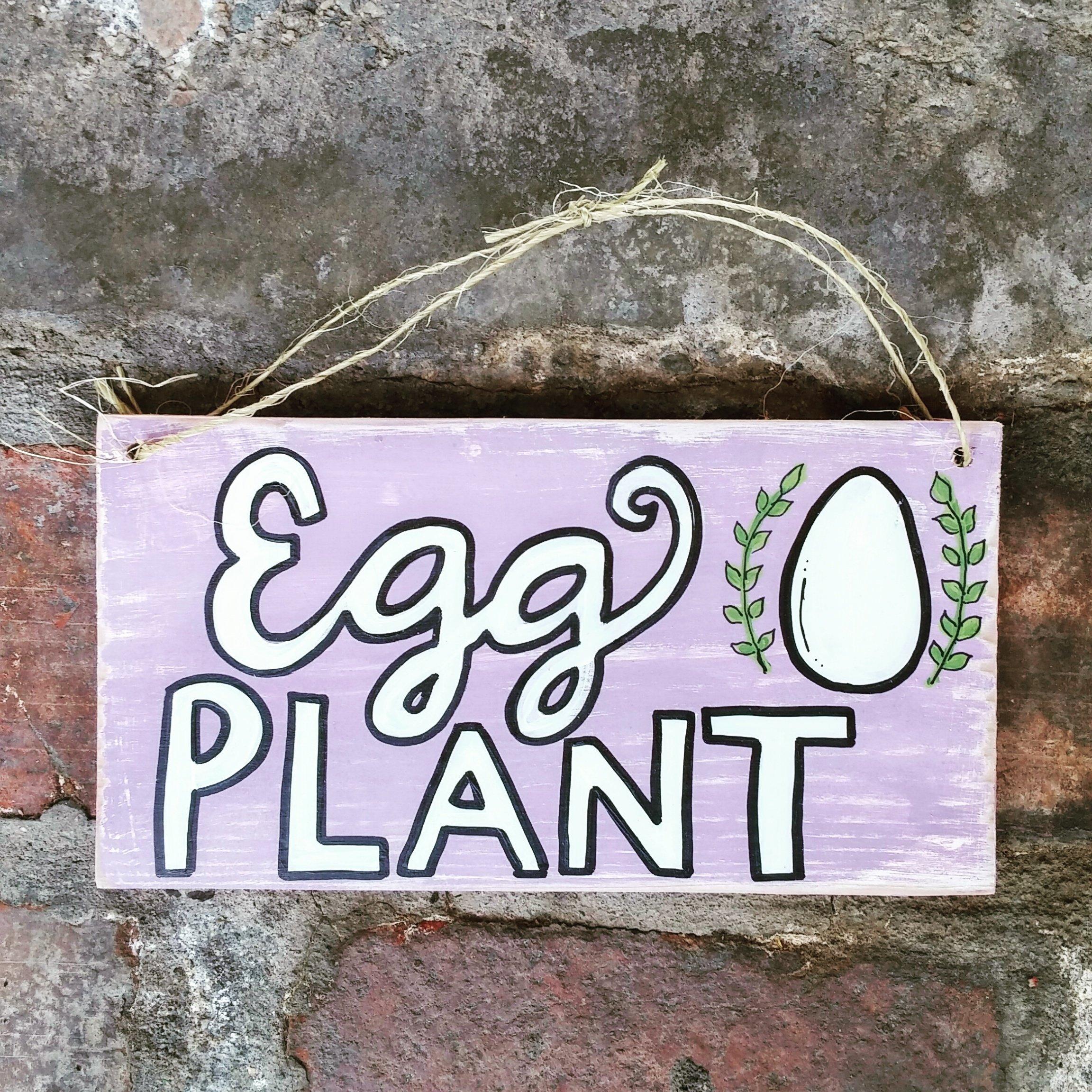 Egg Plant Wood Pallet Sign, Chicken Coop Sign, Hen House Sign, Pallet Sign, Farmhouse Decor, Wood Pallet Sign, Eggplant Sign, Kitchen Decor