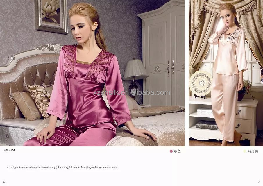 100% Lined Silk Pajamas For Girls,Silk Nightwear - Buy 100 Silk ...