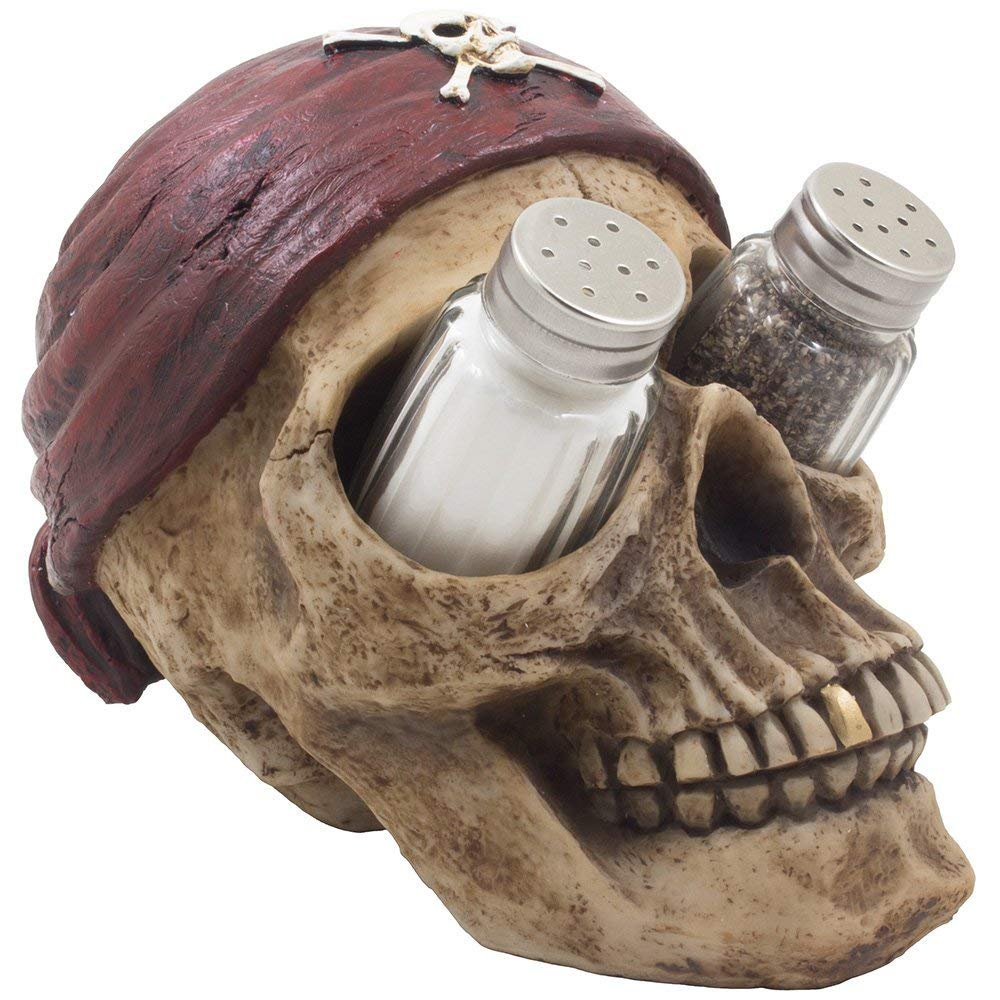 Tropical Caribbean Pirate Skull Salt & Pepper Shaker Set with Skull and Crossbones on Bandana for Scary Halloween Decorations or Spooky Nautical Kitchen Table Decor by Home 'n Gifts