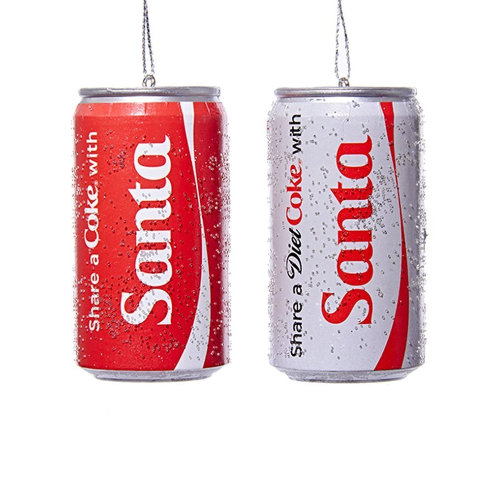 Kurt Adler Share a Coke with Santa Classic and Diet Coke Can Ornaments