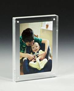 FixtureDisplays Set of 3 5 x 7 Magnetic Picture Frame for Tabletop, Double Sided Box - Clear Acrylic 19185