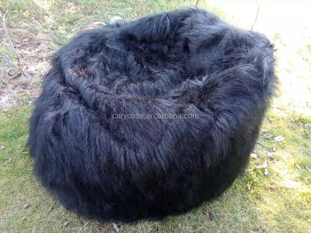 Superb Large Black Shaggy Faux Fur Long Fur Beanbag Cover Plush Bean Bag Chair 116Cm D Buy Xl Bean Bag Chairs Unfilled Bean Bag Chairs Cool Bean Bag Evergreenethics Interior Chair Design Evergreenethicsorg