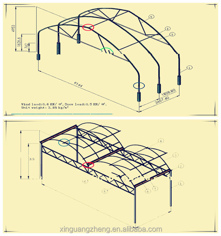 Galvanized steel structure greenhouse for vegetable planting industry