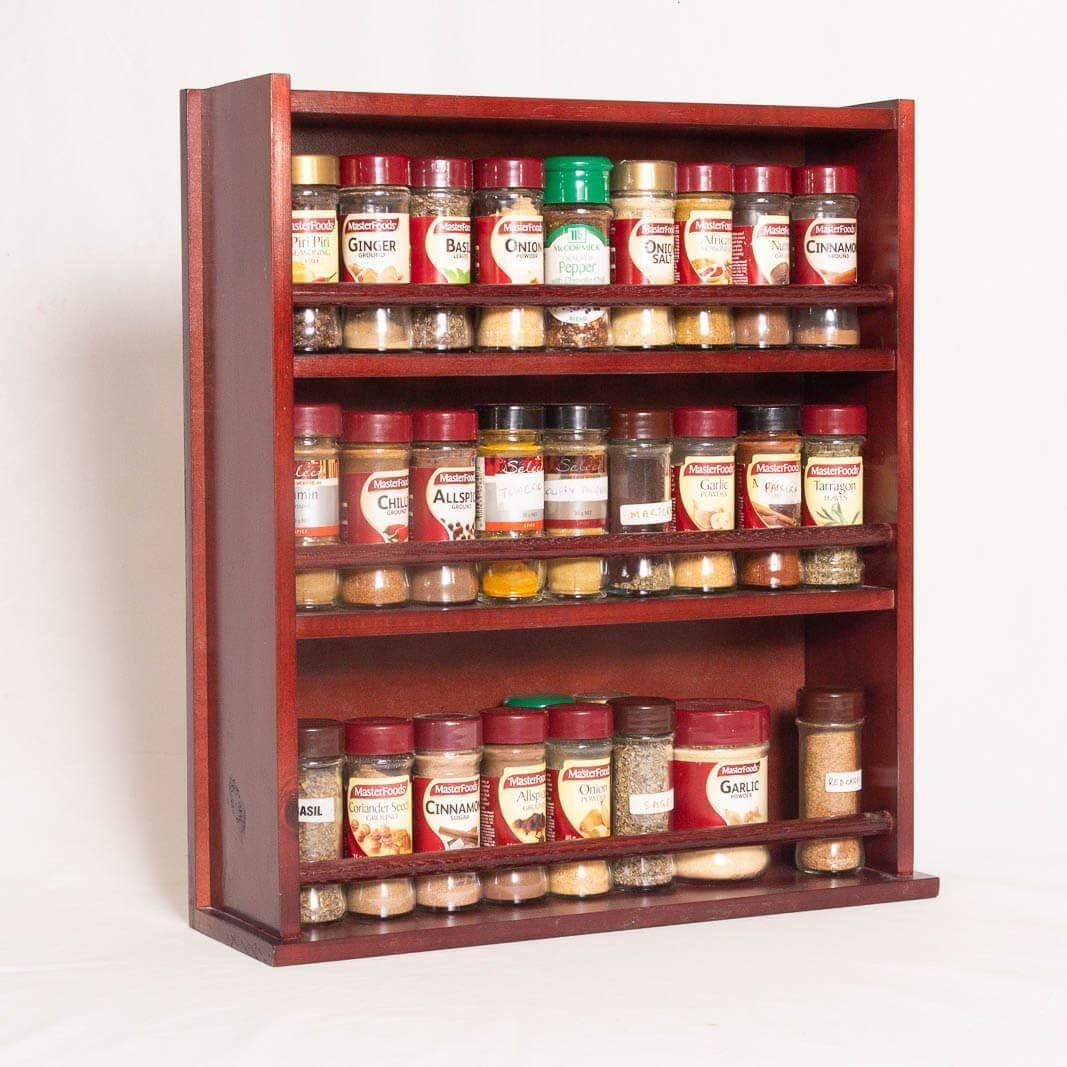 Spice Rack - Wooden - Closed Top - 3 Tiers - Timber Dowel - 54 Spice Jars