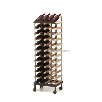 48 bottles wine storage wine rack with wheels