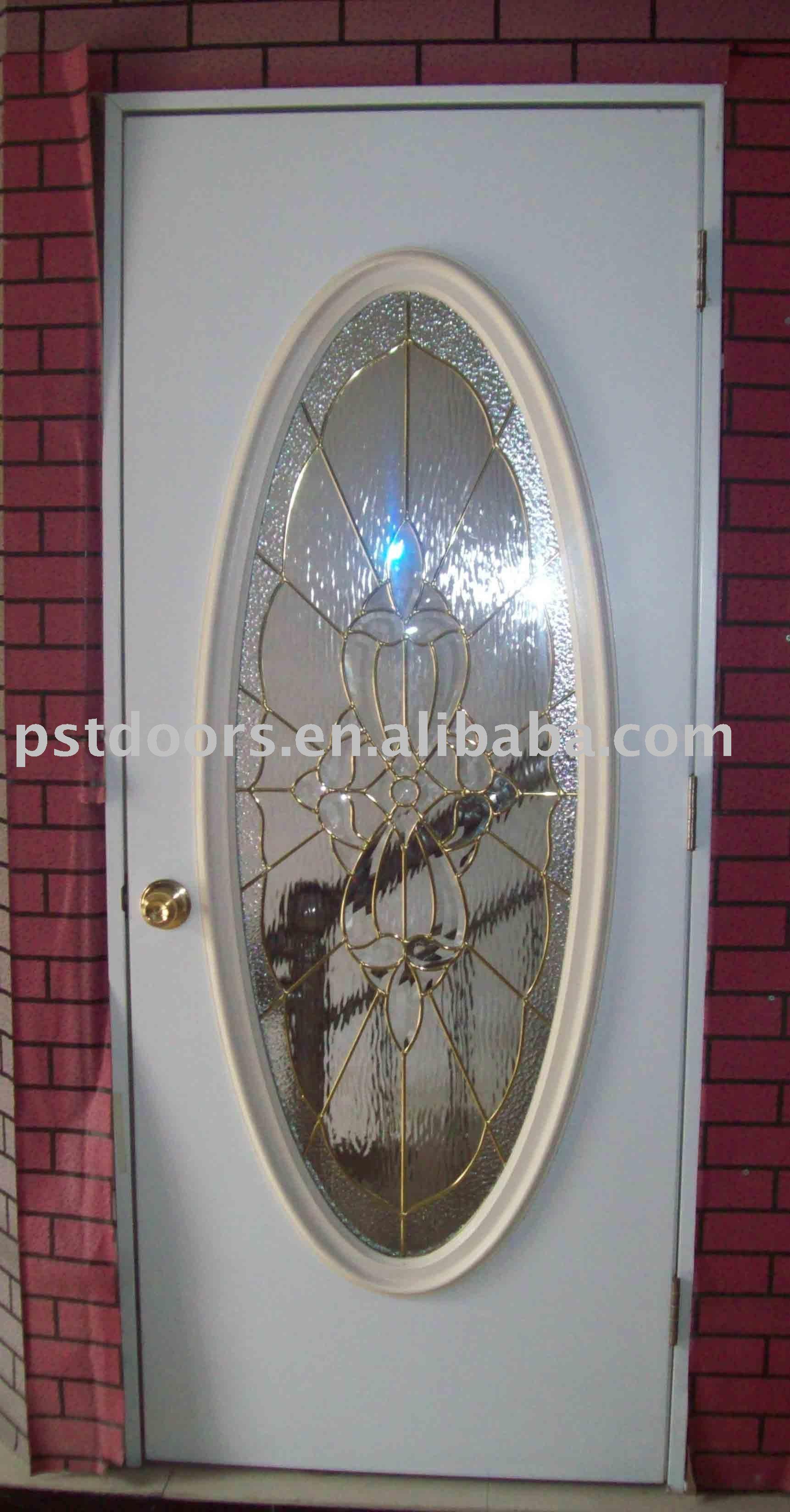 Puertas met licas con vidrio grande ovalada en color for Puertas de metal con diseno
