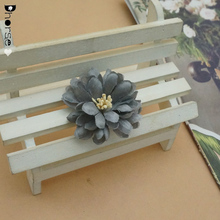 Hot sell 4cm dark grey fabric flower for shoes decoration