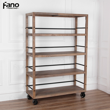 Simple Design French Provincial Country Style Bookcase Wooden Bookshelf With Wheels