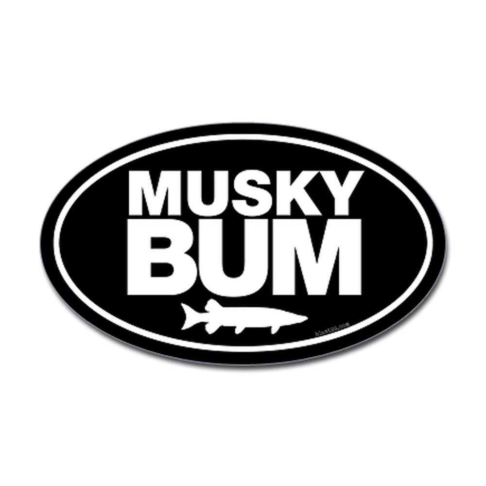 CafePress - Musky Bum Oval Sticker Sticker (Oval) - Oval Bumper Sticker, Euro Oval Car Decal