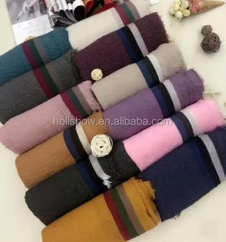 110CM x 200CM Large Cheap 2016 Winter Stripe Scarf Muslim Woman