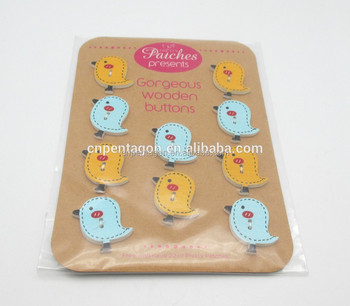 printed bird shaped wooden button