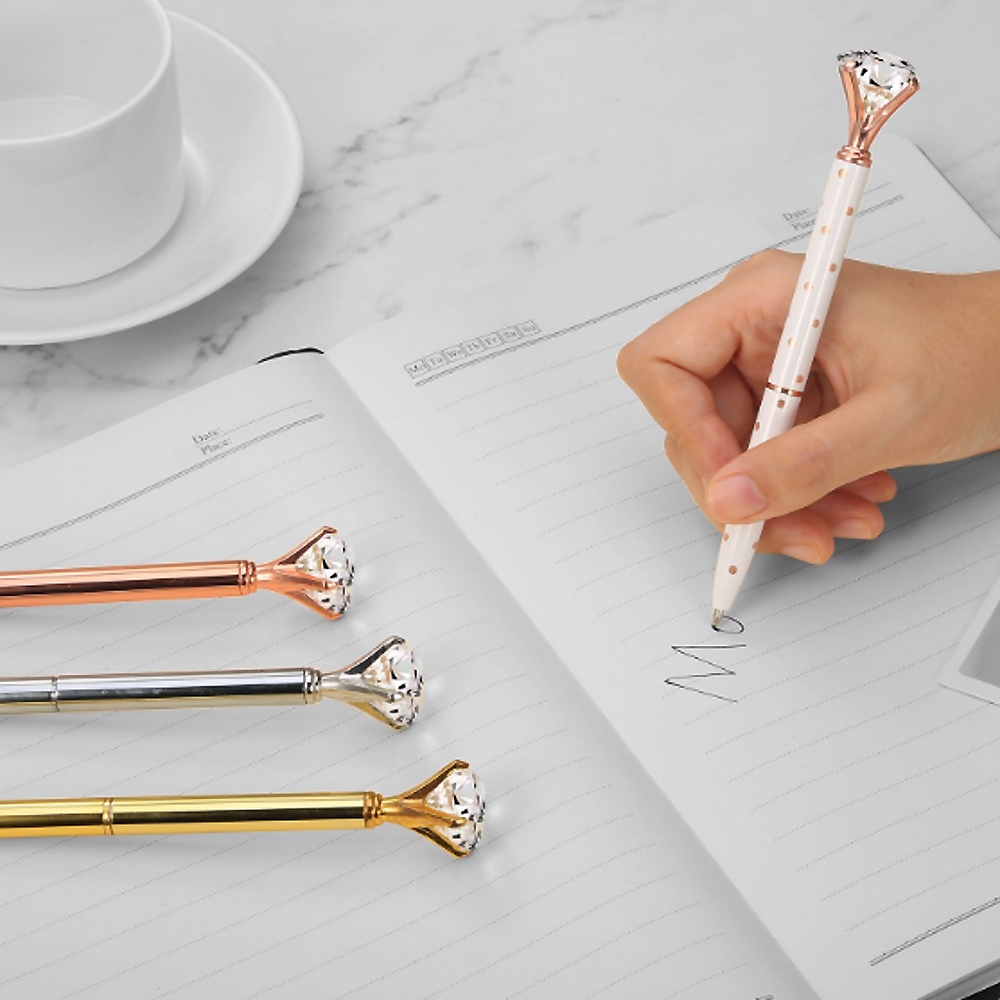 Novelty Promotional Pen Metal Ball Writing Pens with Big Crystal Diamond Pen for School Office Supply Kids Gift