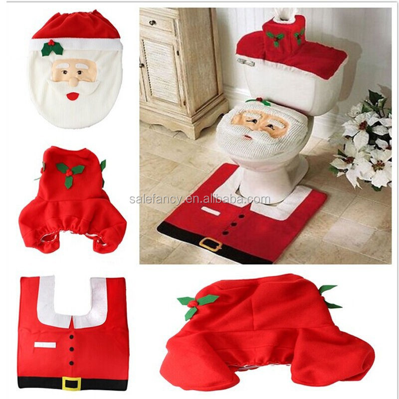 Red Christmas Decorations Happy Santa Toilet Seat Cover Rug Bathroom 3Pcs Set QCDD-2030