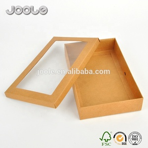 350gsm 400gsm 500gsm 600gsm kraft paper boxes with clear lids OEM printing