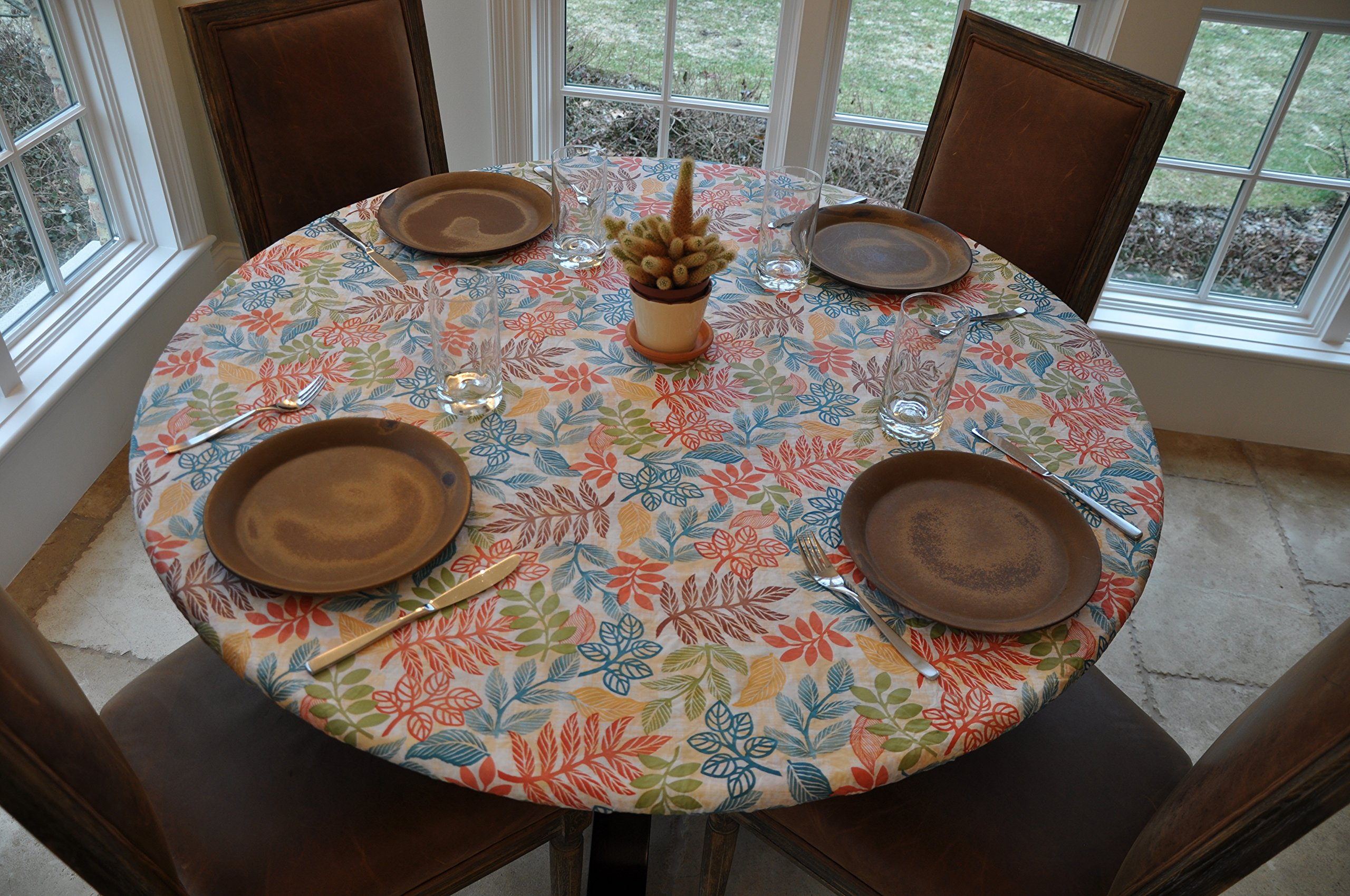 "Elastic Edged Flannel Backed Vinyl Fitted Table Cover - BOTANICAL Pattern - Small Round - Fits tables up to 44"" Diameter"
