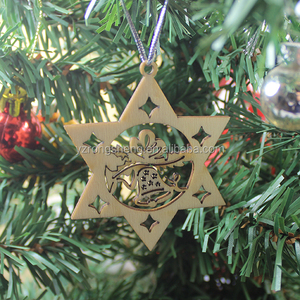 3d laser cutting small wood craft christmas tree ornaments