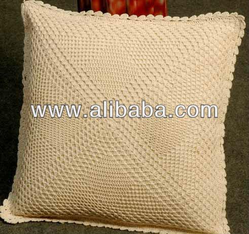 Cojín con aplique de crochet Online |Tejido de algodón y