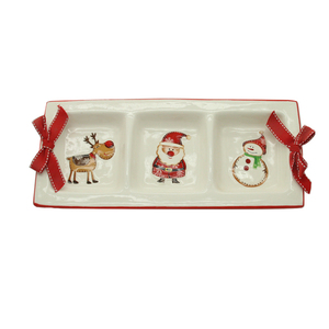 Ceramic rectangle christmas divided plate