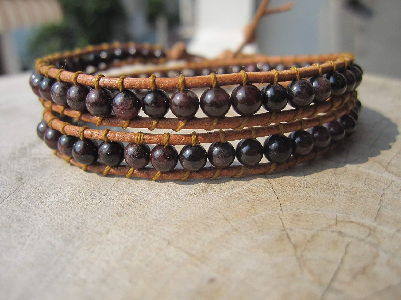 b1abb859275 Get Quotations · Garnet Double Wrap Leather Bracelet,Leather bracelet,Beaded  Bracelets,Womens Boho Jewelry,