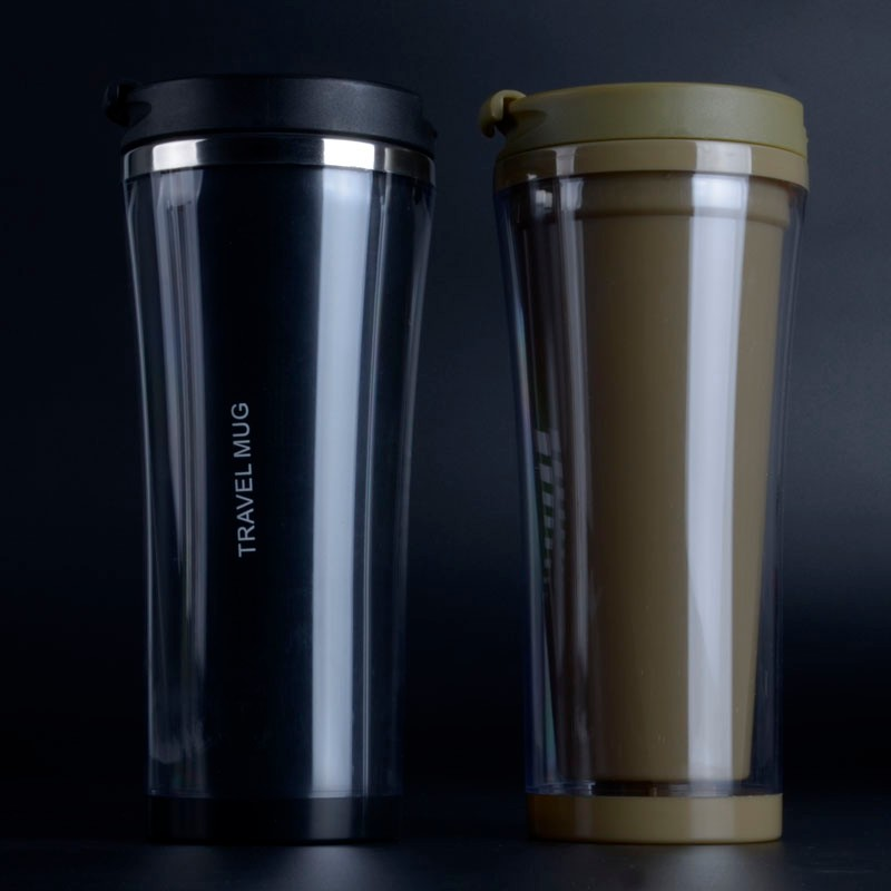 Pp Lid Clear Double Wall Plastic Travel Mug With Stainless