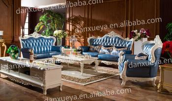 Style Turc Royal Salon Canape En Cuir Bleu Clair Buy Canape En