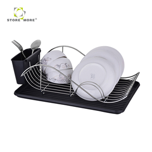 Decorative Dish Rack with Cup/Chopsticks/Knife/Fork Holder, Chrome Finished