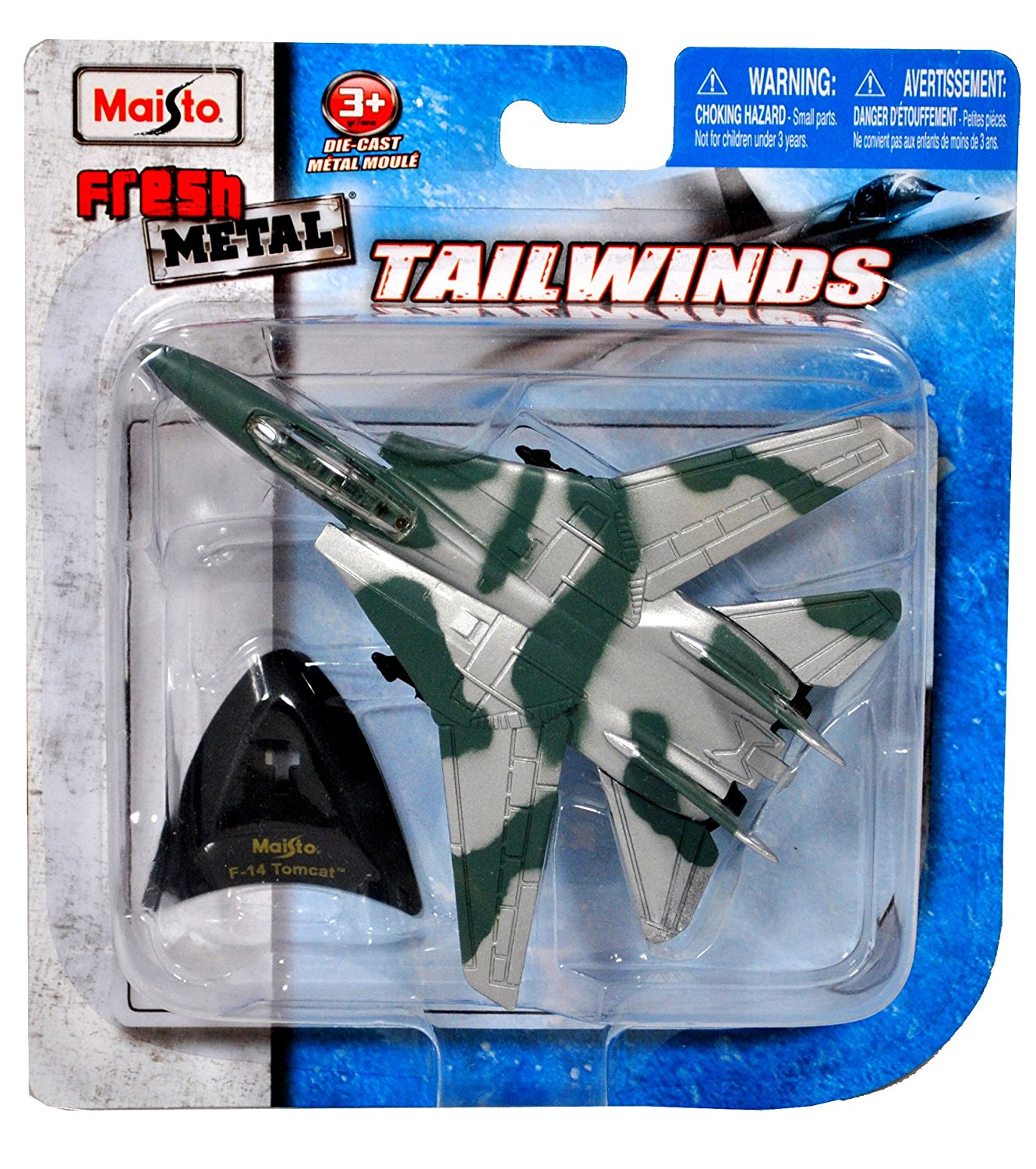 """Maisto Fresh Metal Tailwinds 1:150 Scale Die Cast United States Military Aircraft - U.S. Navy Supersonic, Twin-Engine, Two-Seat, Variable Geometry Wing Aircraft F-14 Tomcat with Display Stand (Dimension: 4-1/2"""" x 5"""" x 1"""")"""