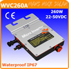 New design!!! Waterproof IP67, 260W 22-50VDC grid tie micro inverter with communication function, working for 200-300W PV module