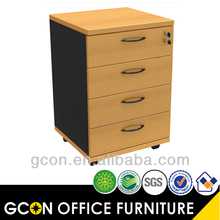 Hot sale wooden mobile pedestal 4 drawers lock GCON