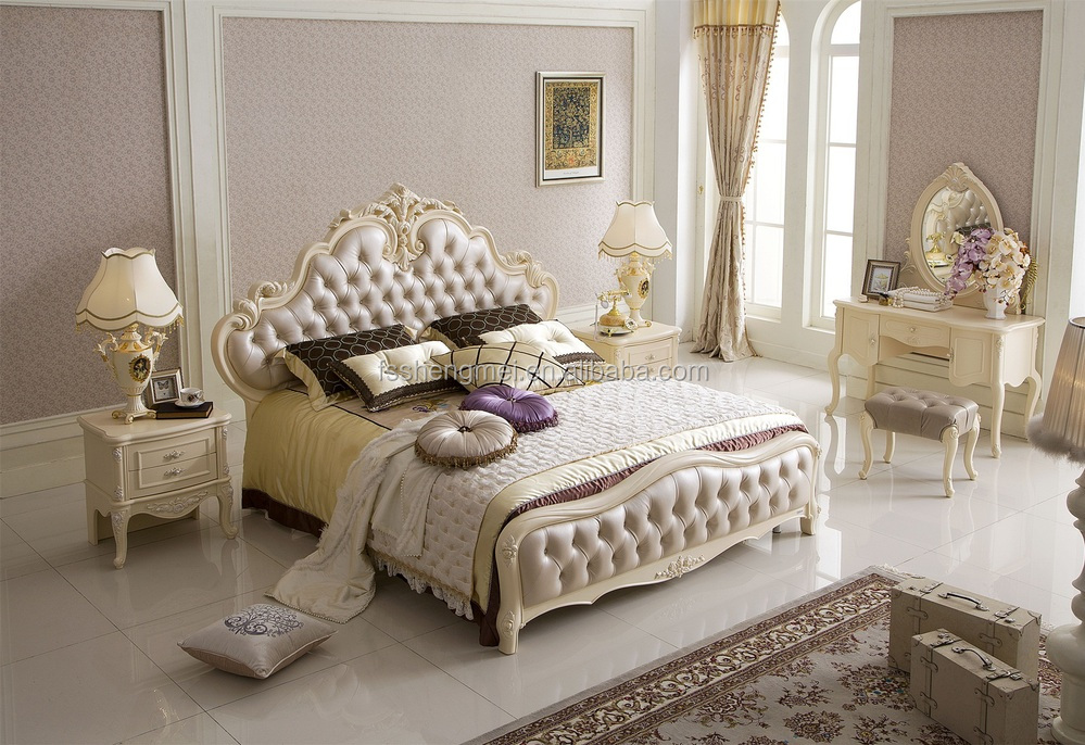 White Color Adult Bedroom Furniture French Style Furniture Villa ...