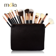 Professional 15 pcs makeup brushes with PU pouch private label makeup brush set
