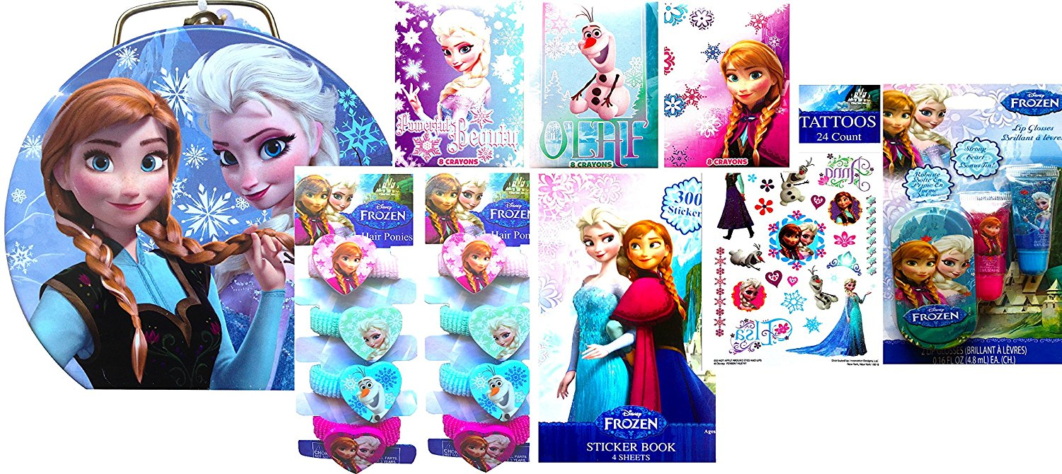 Disney Frozen Tin Boxes for Storing Includes Back to School Exclusive Frozen Accessories (BLUE TIN)