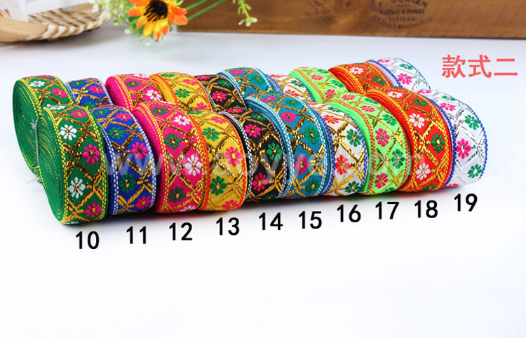 Wholesale colorful embroidery lace wedding dress decoration multi-colored embroidery ethnic wind ribbon woman clothing accessory