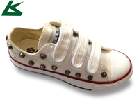 Fancy Buckle Strap Kids White Canvas Shoes