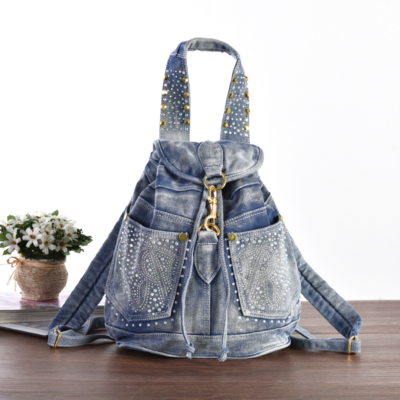 New lady casual Jean Bag with bling diamond and rivet,student Leisure backpack, denim/Jean backpack,cowgirl satchel freeshipping