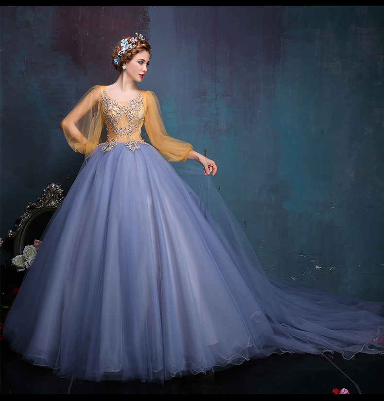 Medieval Renaissance Light Blue And White Gown Dress: Extravagant Wedding Dresses, French Wedding Dress And