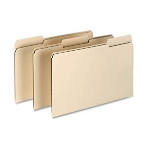 Esselte File Folder - Legal - 8.5amp;quot; x 14amp;quot; - 1/3 Cut Tab on Assorted Position - 0.75amp;quot; Expansion - 100/Box - 11pt. - Manila