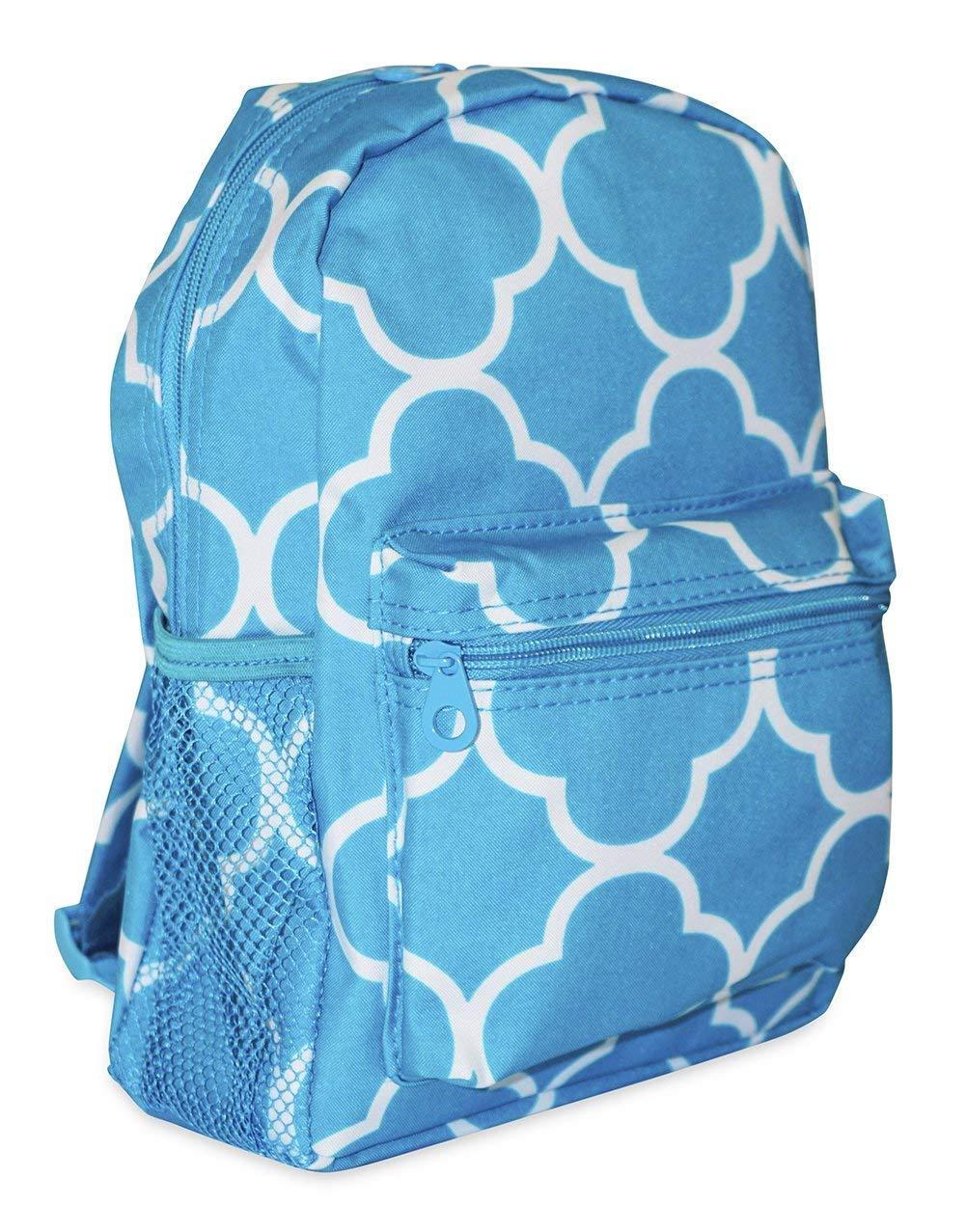 Ever Moda Pull String Backpack 19-inch Royal Blue Quatrefoil Backpack