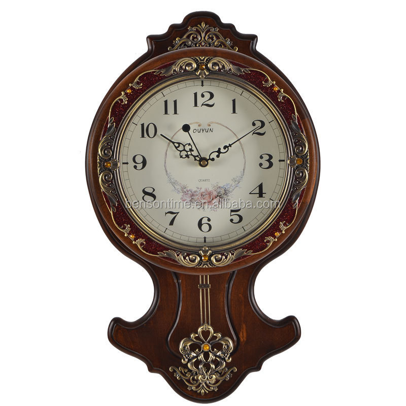 Retro Pendulum Wall Clock Wooden Design