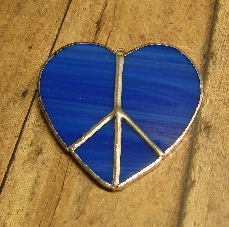 Cobalt Blue Heart Shaped Peace Sign Handmade Stained Glass Sun Catcher Ornament