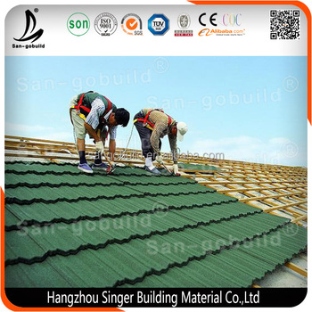 Color Guaranteed Stone chips coated galvanized/galvalume metal roofing steel sheet suppliers