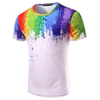 1238db47 3d Splatter Paint O-neck Placket Short Sleeve Shirt - Buy Colorful T ...
