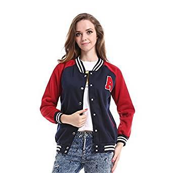 Biovan Women's Letter A Varsity Jacket Baseball Sweatshirt Sport Casual Coat, Navy/Red, One Size