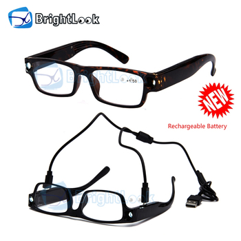 Brightlook wholesale china manufacturer fashion rechargeable battery reading led glasses