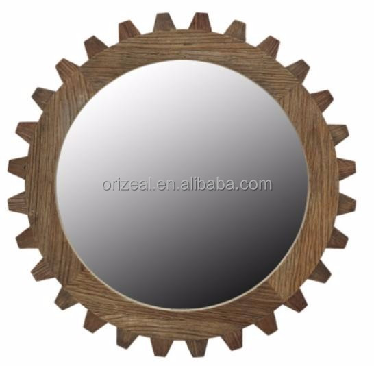French Style Antique Elm Wood Framed Decorative Mirror