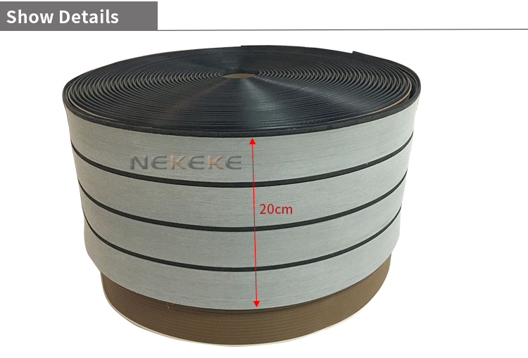 25 Meter Roll 190mm Wide Synthetic gray Decking With Black Caulking Line Stripe