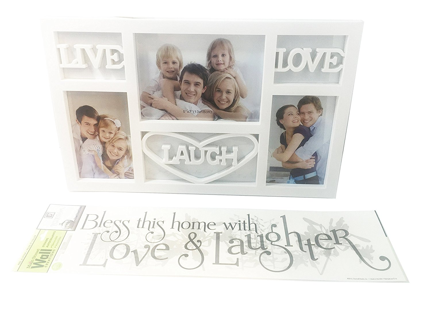 Live Laugh Love Wall Decor Picture Frame And Bless This House Decal Bundle