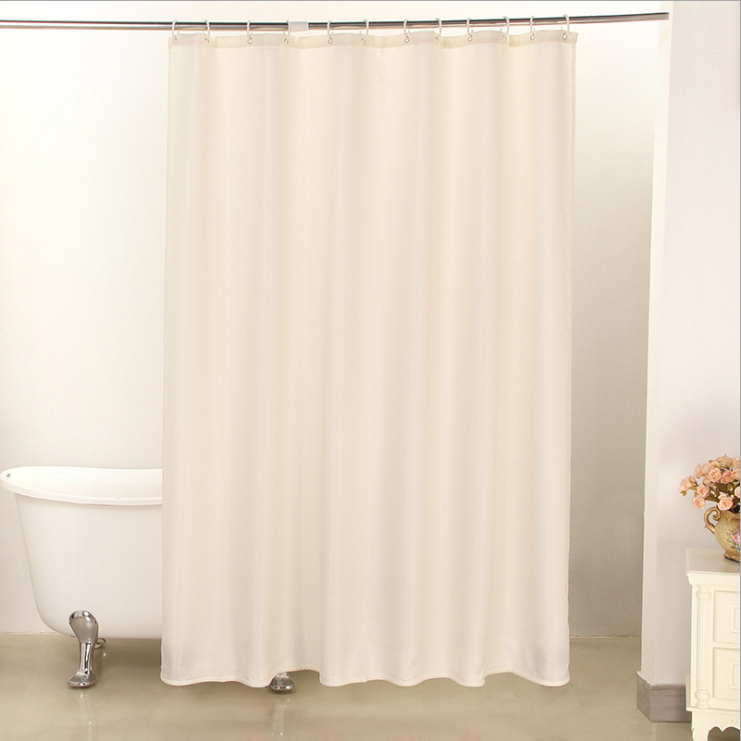 The High Quality White Hotel Shower Curtain for Home Textile Fabric Shower Curtain