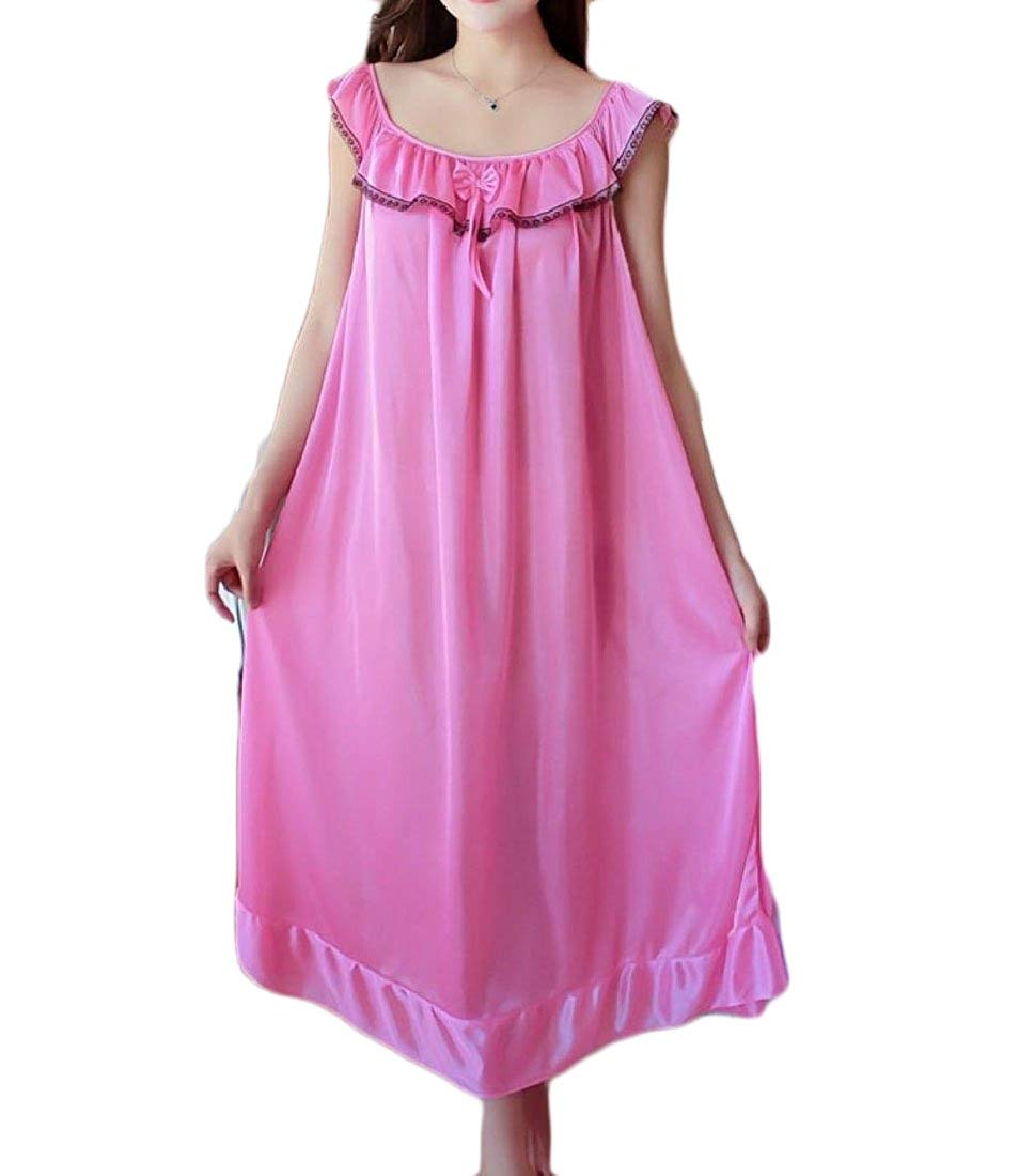 Get Quotations · YUNY Women Nightwear Silk Plus Size Breathable Ice Silk  Home Sleep Dress 397b906e4
