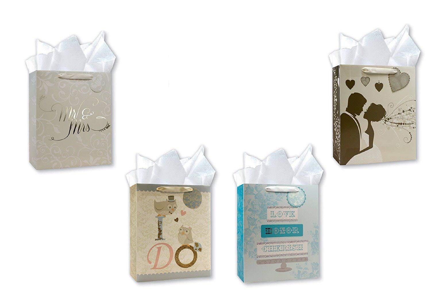Wedding Gift Bags Set of 4 Large Wedding Gift Bags w/ 4 Elegant Designs Embellished with Iridescent & Gold Glitter and Beautiful Silver & Gold Foil Finishes. Also Includes Tissue Paper